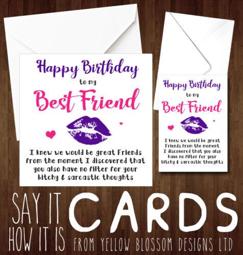 Funny Happy Birthday Card Cheeky Best Friend Bestie Novelty Girlie Girls BFF Fun