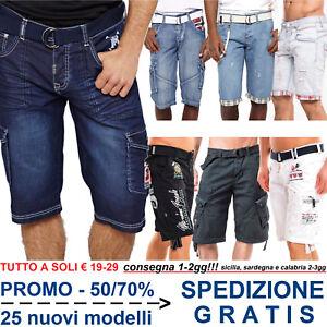 Bermuda-Shorts-da-Uomo-Pantaloni-Corti-al-Ginocchio-Pinocchietto-per-Moda-Casual