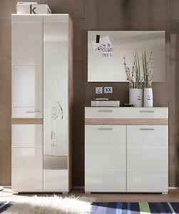garderoben set hochglanz wei eiche kleiderschrank flur schrank garderobe setone ebay. Black Bedroom Furniture Sets. Home Design Ideas