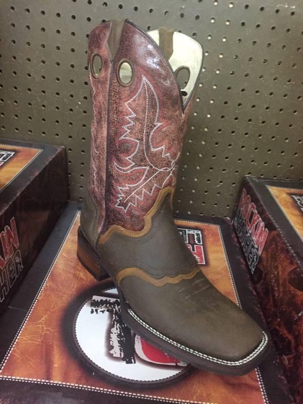 Rockin Leather dedo del pie cuadrado para hombre Bota Con Arpillera