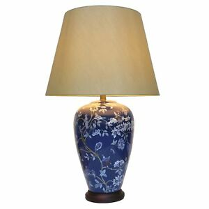 Pair of chinese vase table lamps with shades blue fairy vine image is loading pair of chinese vase table lamps with shades aloadofball Choice Image