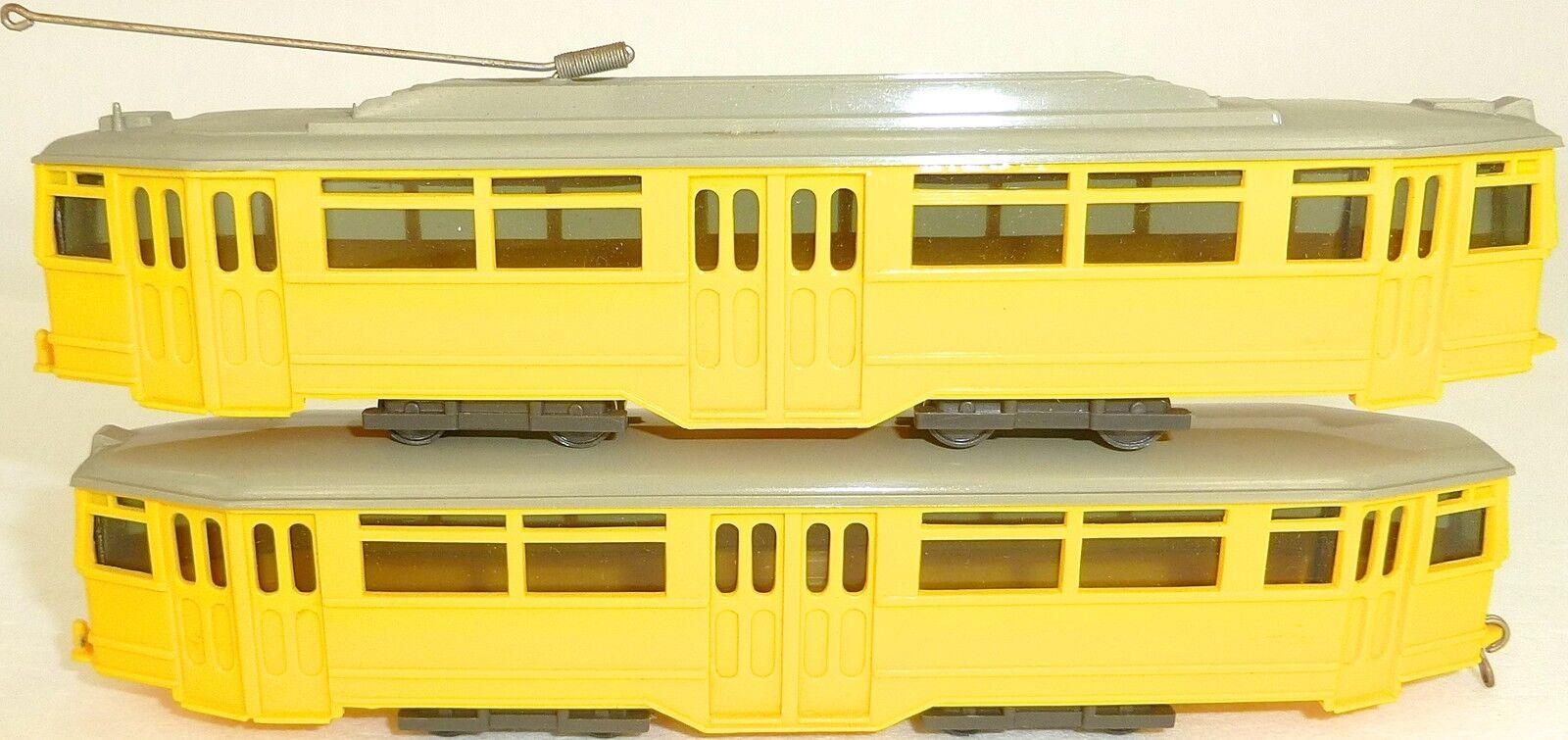 2 pcs tramway moteur voiture et Side-car jaune WIKING 740 741 h0 1 87 uy3 å