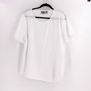 Chico's Easyware Size 3 or XL White Textured Short Sleeve Top Side Tie Blouse
