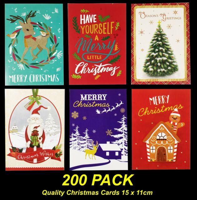 Bulk 200 Pack Christmas Cards - 15 x 11cm