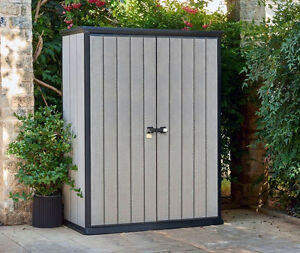 Keter-High-Store-small-garden-shed-W-1-4m-D-0-7m-2-Year-Warranty