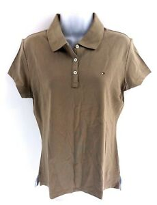 TOMMY-HILFIGER-Womens-Polo-Shirt-XL-Brown-Cotton-Slim-Fit