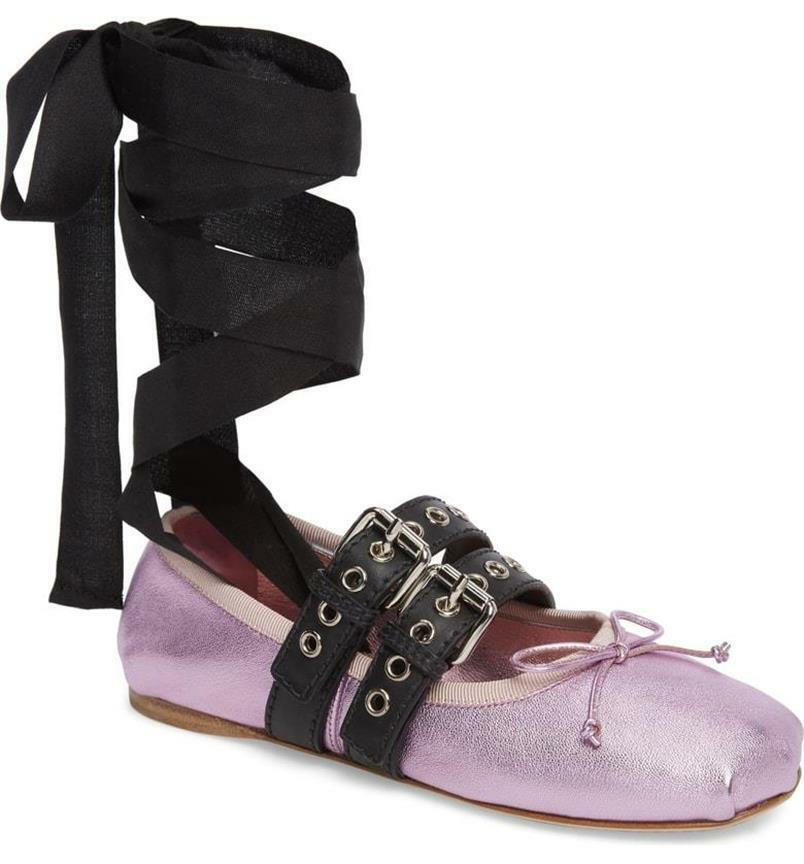 Miu Miu Mettuttiic Leather Lace Up Ribbon Btuttierina Flat sautope violac   700