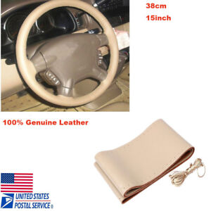 Details About Car Auto Diy Beige Genuine Leather Steering Wheel Cover Wrap Sew On Kit 38cm
