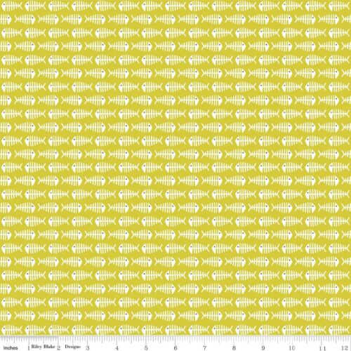 Green Cat Fish Bone Riley Blake 100/% Cotton Fabric FQ Half Metre Metre More