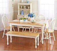 Farmhouse Dining Table Set Bench Room Kitchen Nook 4 Chair White Oak Wood Farm