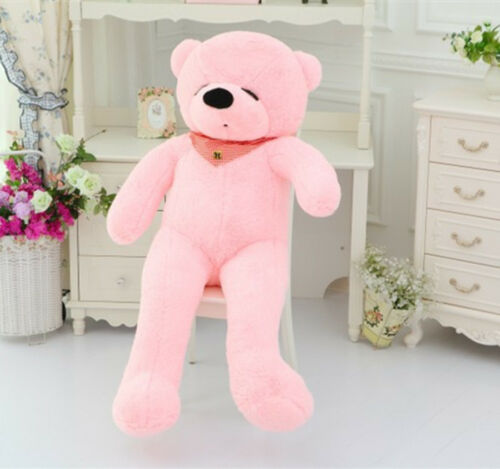 "120cm 47""giant cute pink plush sleepy teddy bear huge soft 100% pp cotton toys"