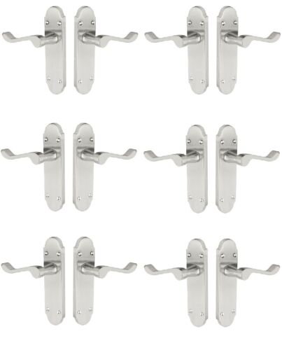 6 Pack of Shaped Scroll Satin Chrome door handles 168mm x 42mm SALE PRICES
