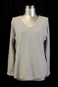VINCE Light Gray HEATHER V-NECK Lightweight Top Pullover Sweater Womens Small