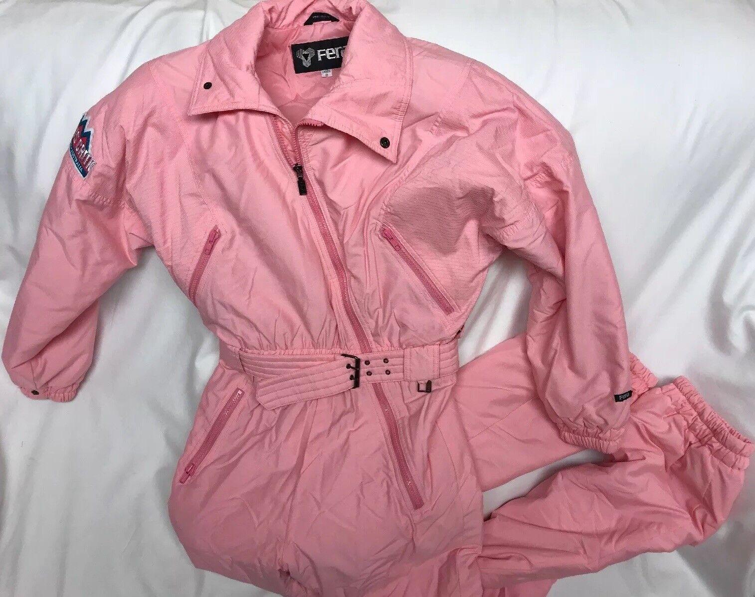 Vtg 80s  90s Pink FERA Ladies Size 12 One piece SKI SUIT Snowsuit Snow Bunny  fast delivery