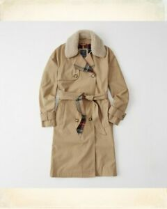 Abercrombie-amp-Fitch-Trench-Coat-Faux-Shearling-Trim-Plaid-Lining-Jacket-SIZE-S