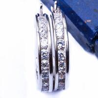 Beautiful Solid Silver Cz Hoop Earrings .925 Sterling Silver Earrings .5 on sale