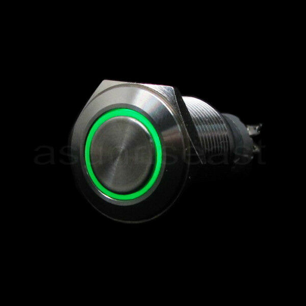 Green 16mm 12V LED Momentary Push Button Panel Metal Switch Angel Eye Car Boat