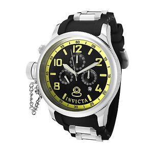 Invicta-Watch-1798-Men-039-s-Russian-Diver-Black-Dial-Black-Polyurethane