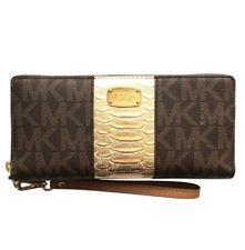 1958342a895cf2 Michael Kors Center Stripe Brown/gold Travel CONTINENTAL Wallet 35T7MIJZ3E