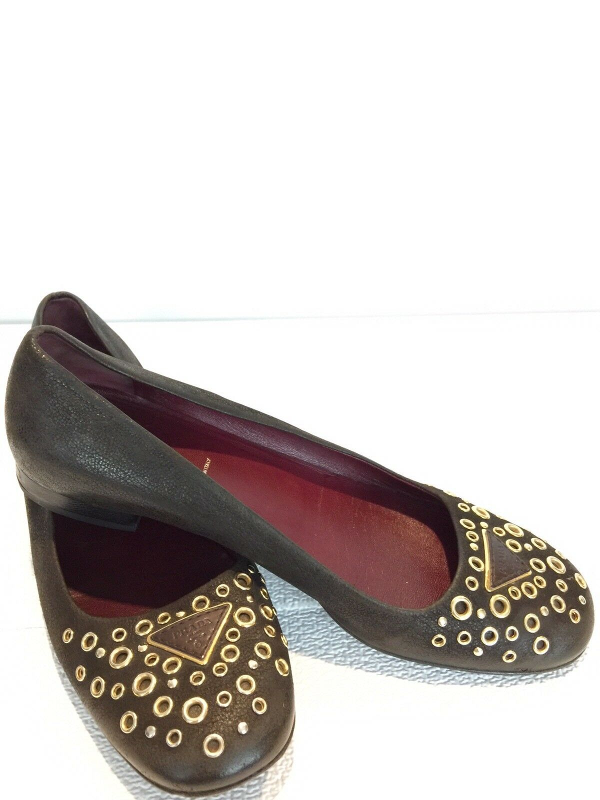 Authentic Prada Brown Leather Eyelet Decorative Loafers, 39.5, 9 US