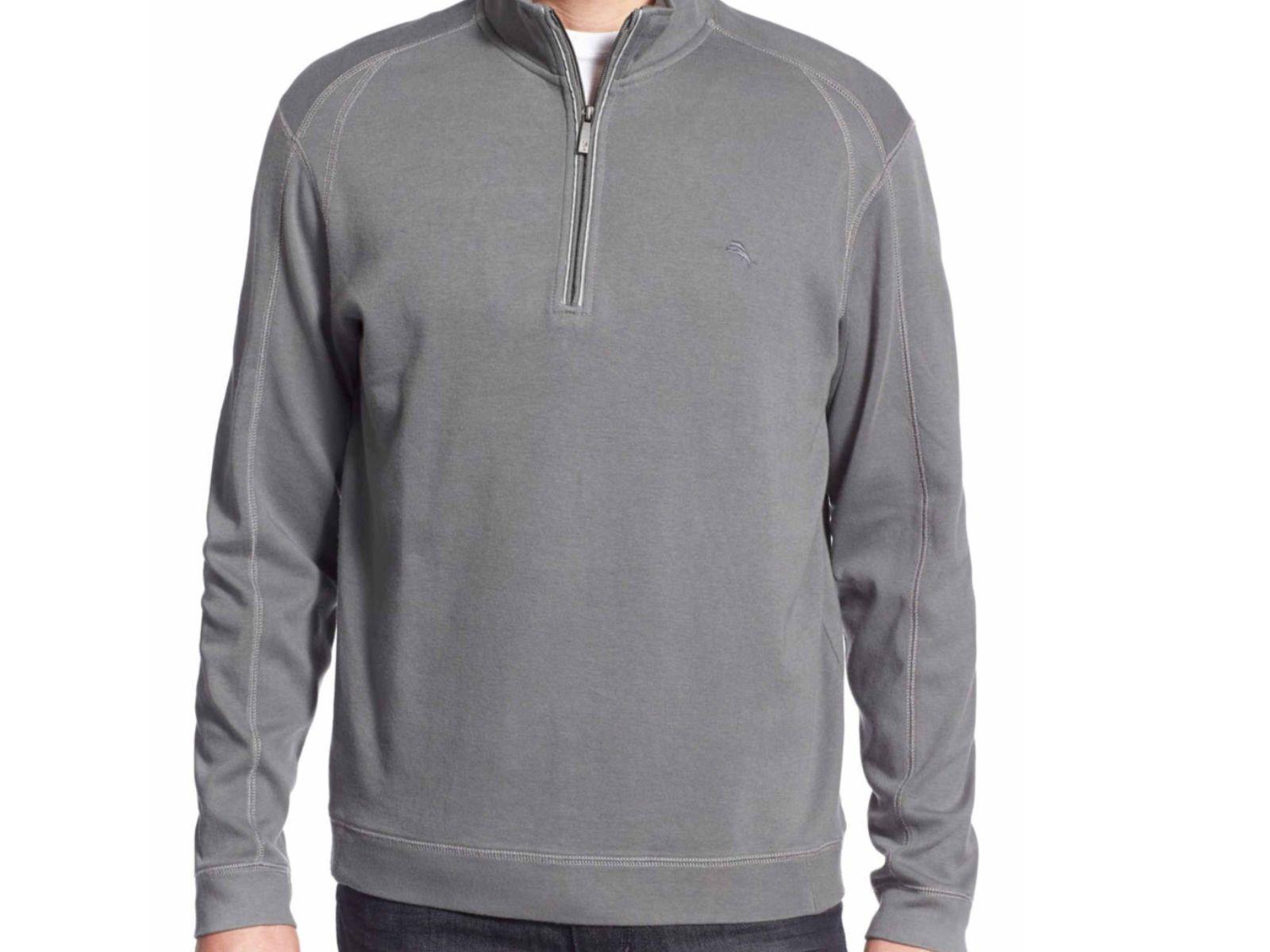 Tommy Bahama Full Time Half Zip Carbon Grau Pullover Sweatshirt Shirt M L XL118