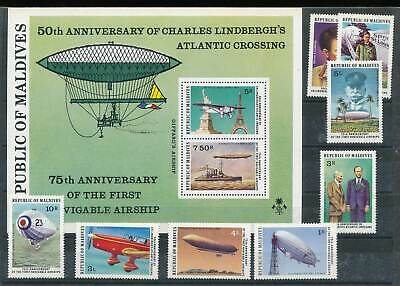 Zielstrebig 234630 Malediven Nr.721-8+bl.47** Flugzeuge Zeppeline Etc.. ZuverläSsige Leistung