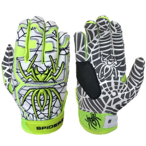 Small White//Neon//Black Spiderz 2021 Hybrid Baseball//Softball Batting Gloves