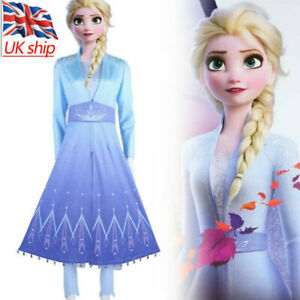 Frozen 2 Elsa Queen Costume Cosplay Princess Blue Snow Outfit Fancy Dress Party