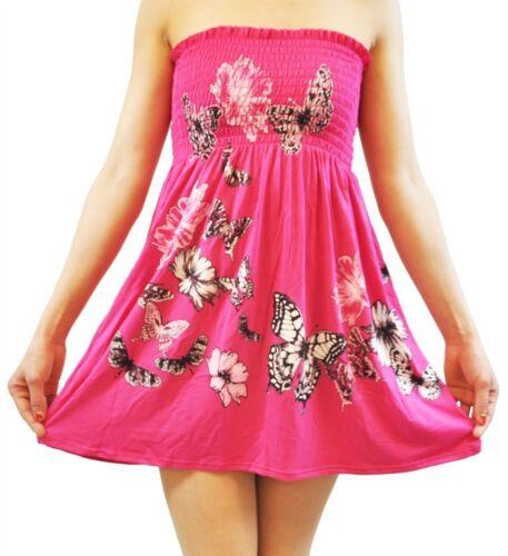 Women Floral,Flower Printed Sheering Butterfly Glitter Bandeau Boobtube Mini Top