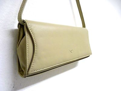 Tasche Umhängetasche Clutch Leder LIN beige mit abnehmbarem Henkel