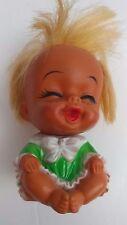"Vintage Rubber Moody Cuties Happy 4"" Sitting Doll Toy Mid-Century Korea"