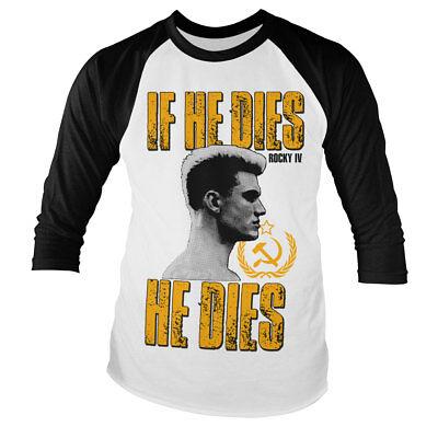 Officially Licensed Rocky Sylvester Stallone 3//4 Sleeve Baseball T-Shirt S-XXL