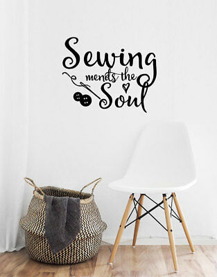 Sewing mends the soul...WALL QUOTE DECAL VINYL LETTERING SAYING