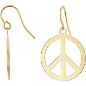 Image Is Loading 14k Yellow Gold Circle Peace Sign Earrings