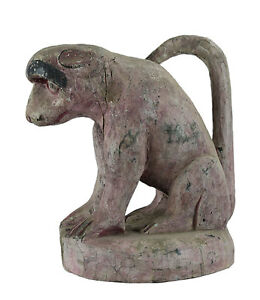 Antica Statua Tibetano Scimmia Hanuman Legno Himalaya-Newar Tibet- 8492-Hall
