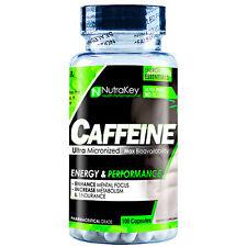 Nutrakey CAFFEINE 200mg 100 capsules Energy Endurance BOOST METABOLISM
