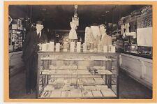 Real Photo Postcard RPPC Store Interior Clerks Ladies Accessories Postcard Rack