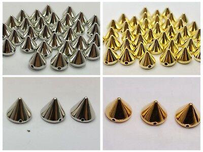 200 Gold Rock Punk Acrylic Flatback Spike Taper Studs 8X8mm No Hole Cabochon