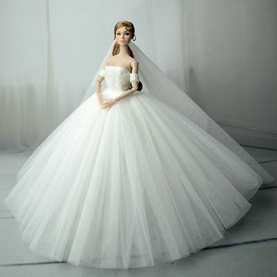 White Fashion Royalty Dress//Wedding Clothes//Gown+Veil For fit 11.5 inch Doll