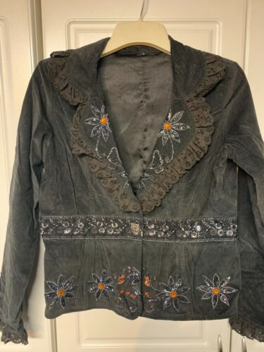 Dark Embellished Jacket Ladies sconosciuto Grey Beaded Designer Small Size Nwo Tags faxSqn