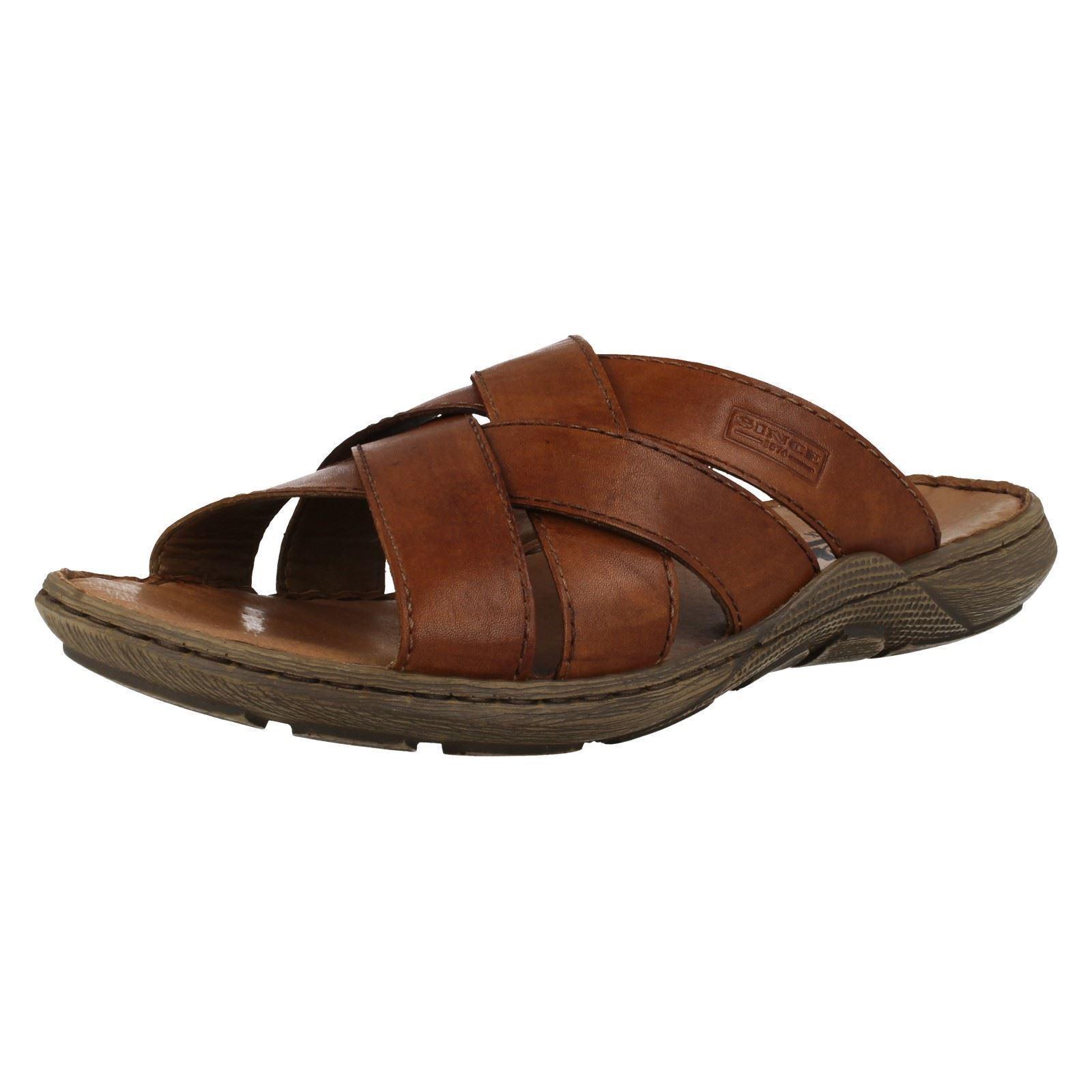 Da Uomo Rieker 22098 Marrone Sandali Casual Crossover Strap Slip On Mule Sandali Marrone 4d652c