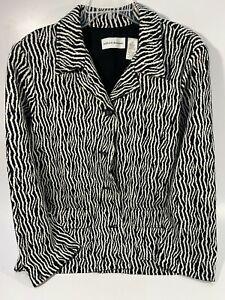 Alfred-Dunner-Women-039-s-Zebra-Print-Pockets-Blazer-Jacket-Size-12-Black-White