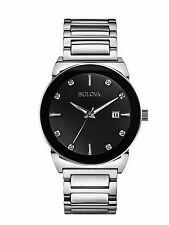 Bulova Men's 96D121 Diamond Accents Quartz Black Dial Silver Bracelet Watch