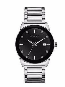 Bulova-Men-039-s-Diamond-Accents-Quartz-Black-Dial-Silver-Tone-Watch-40mm-96D121