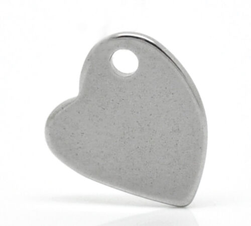 100 Silver Tone Stainless Steel Heart Charm Pendants Blank Stamping Tags 11x10mm
