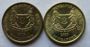 Singapore 2 pcs (2013 & 2017) 3rd Series 5 cents coin