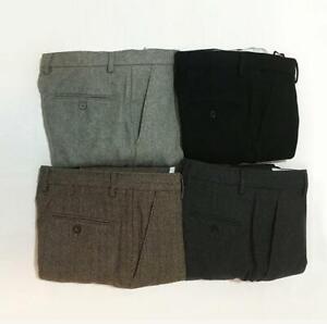 Mens-British-Slim-Warm-Straight-PantsMany-Color-Herringbone-Wool-Tweed-Trousers