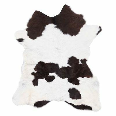 NEW NSW Leather Co Calf Animal Hide Rug, Chocolate/White