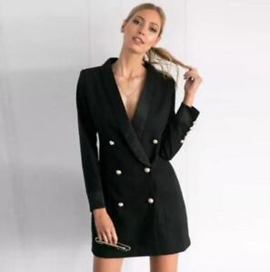 Womens Black Double Breasted Slim Fit Blazer Dress Sexy Mini Skirt
