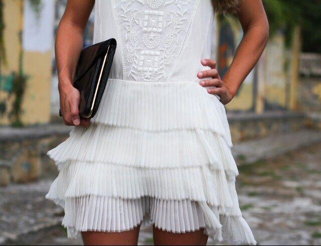 ZARA Ivory Cream Embroidered Frill pleated Dress M Medium